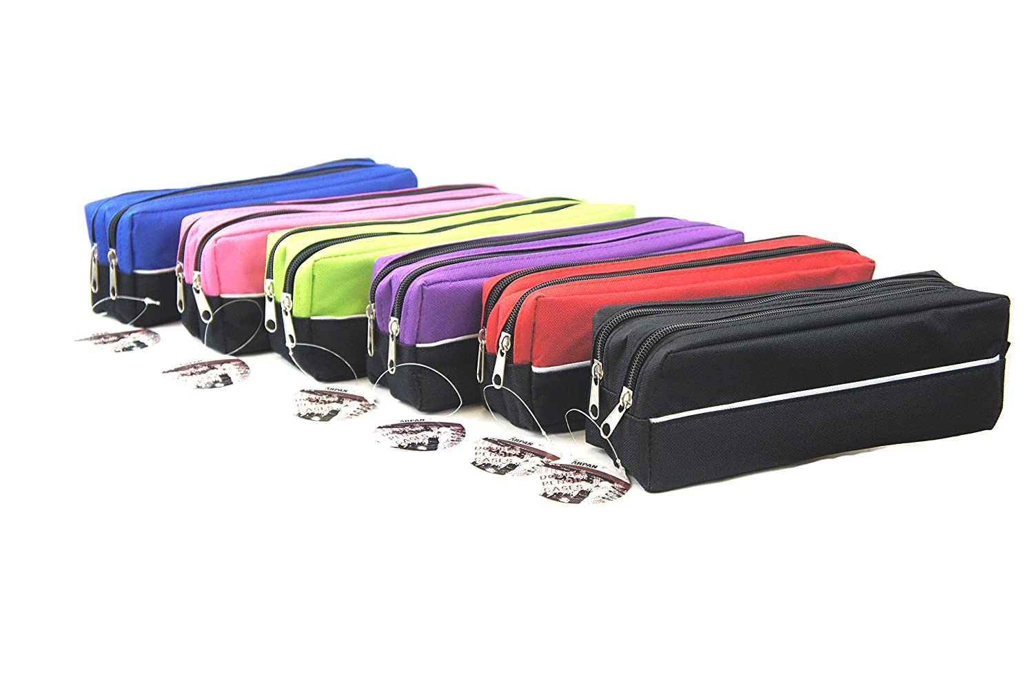 Arpan X-Large size Double Zip Fabric Pencil Case Ideal For School//College//Uni.- Make Up x 1 CL-PCRD-OR RED