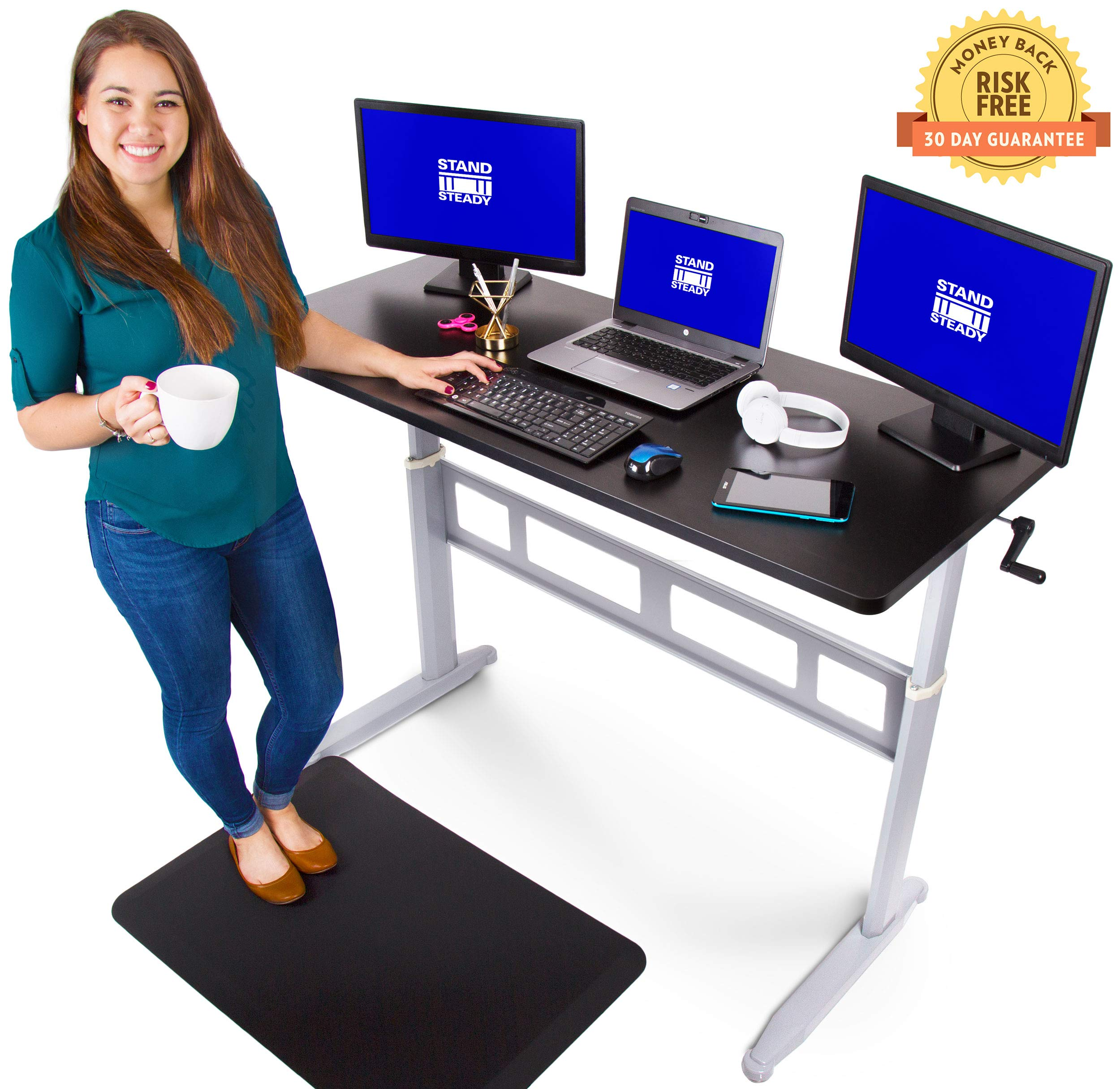 Tranzendesk Standing Desk - 55 inch Long - Easily Crank from Sitting to Standing (Black Top/Silver Frame) by Stand Steady
