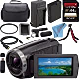 Sony HDR-CX675 HDRCX675/B Full HD Handycam Camcorder with 32GB Internal Memory + Rechargable Li-Ion Battery + Charger + Sony 64GB SDXC Card + Case + Tripod + HDMI Cable + Fibercloth Bundle