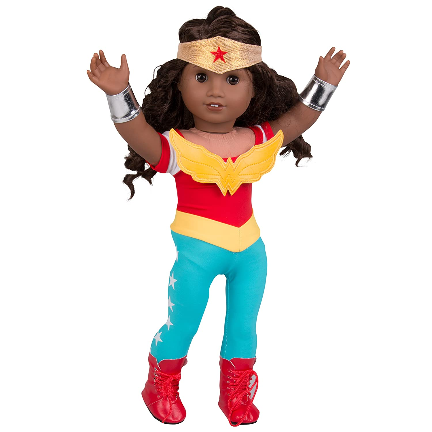 fcecfae2e44 Dress Along Dolly Wonder Woman Inspired Doll Outfit - 5pcs Superhero  Halloween Costume for American Girl and 18 Inches Doll