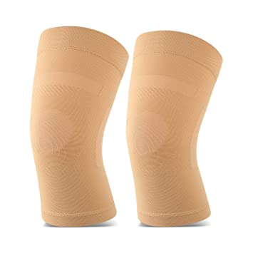 Knee Sleeves, 1 Pair, Lightweight Knee Brace Fit For Men & Women, Knee Compression Sleeves Support For Pain Relief, Joint Pain, Arthritis, Running, Sports, Meniscus Tear, Injury Recovery, Beige M by Tofly