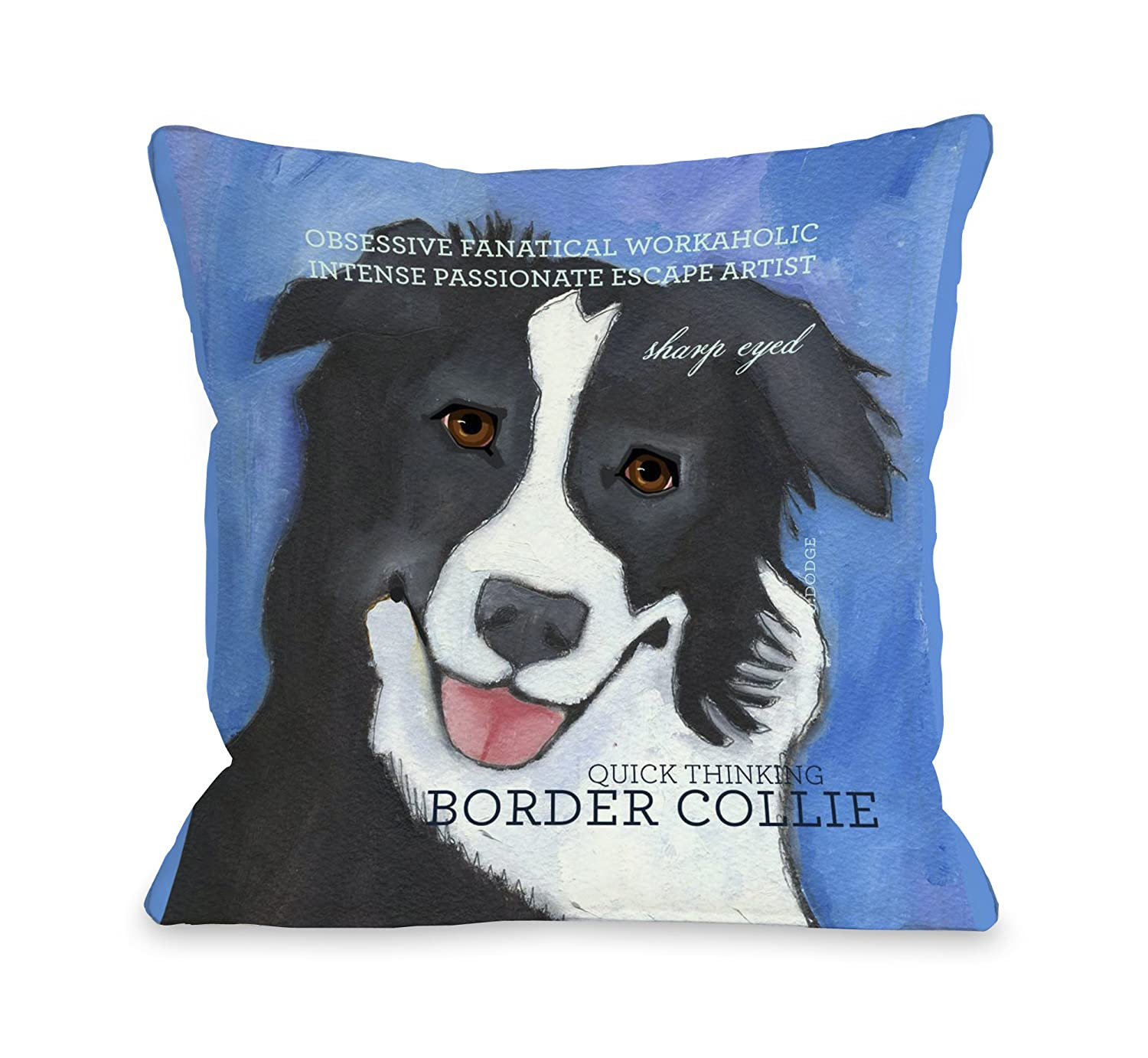 One Bella Casa Border Collie 2 Throw Pillow, 20 by 20-Inch