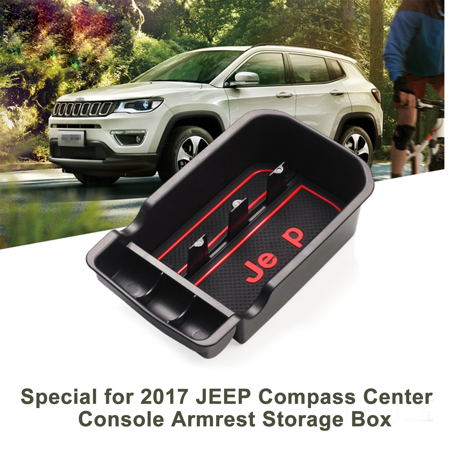 LFOTPP  Car Center Console Armrest Box Glove Box Secondary Storage Tray for 2017 2018 Jeep Compass LiFan