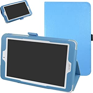 """Acer Iconia One 8 B1-850 Case,Mama Mouth PU Leather Folio 2-Folding Stand Cover with Stylus Holder for 8"""" Acer Iconia One 8 B1-850 Android Tablet,Light Blue"""