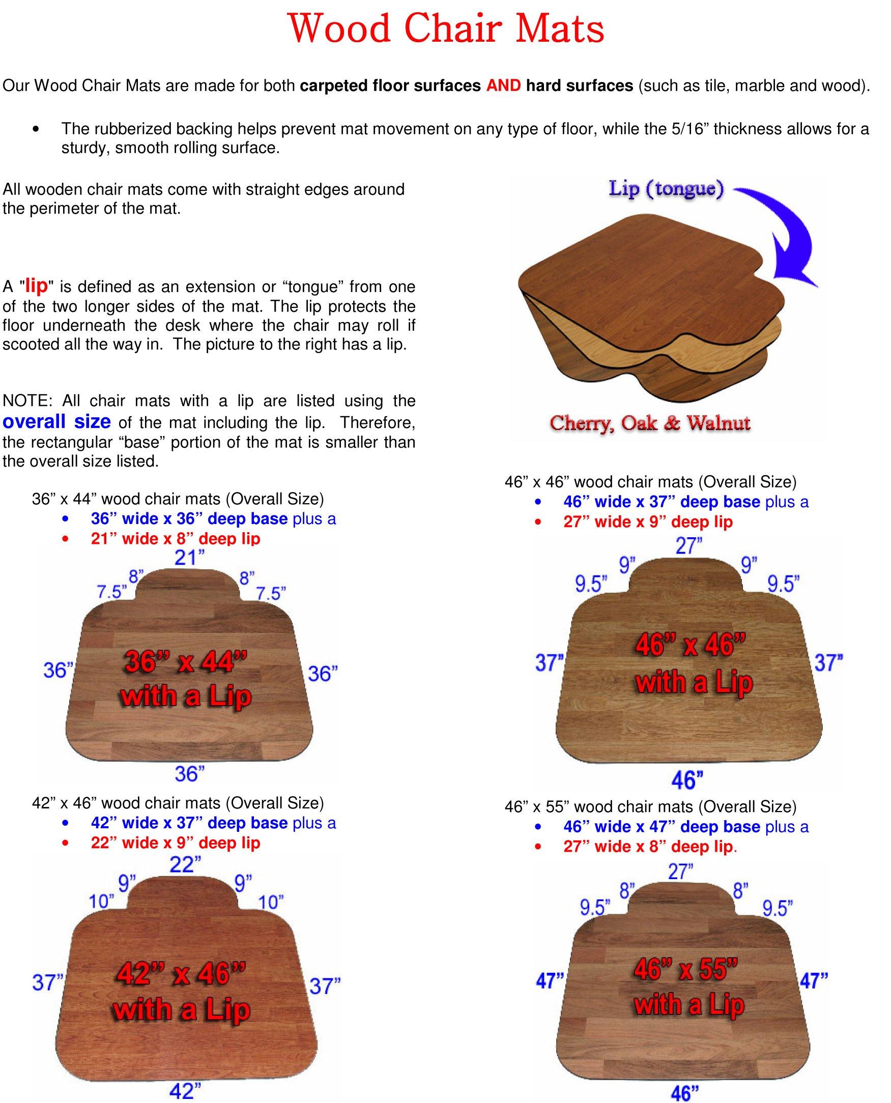 Premium Wood Walnut 36'' x 44'' - Lip 3/8'' Thick Chair Mats