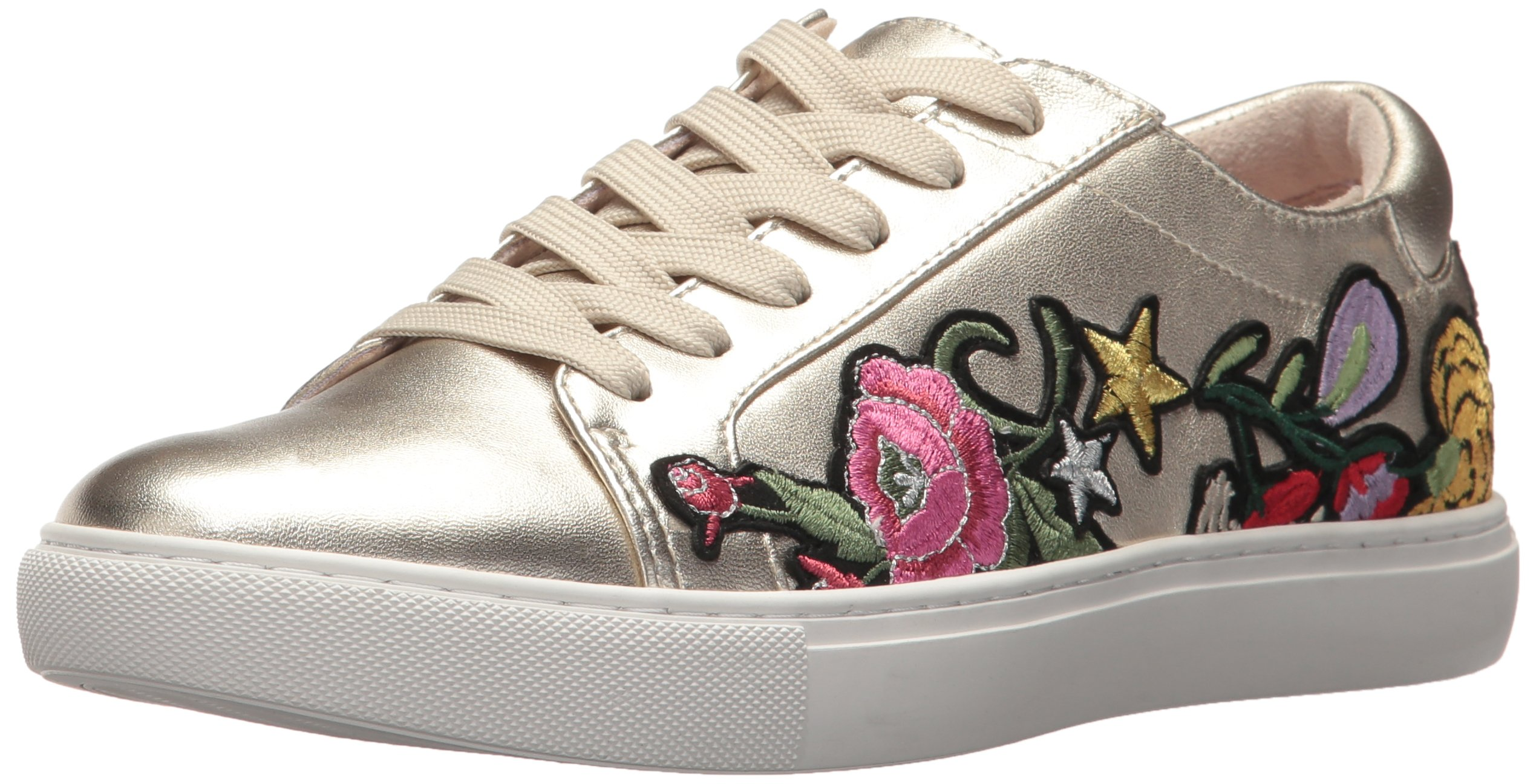 Kenneth Cole New York Women's Kam 10 Low Top Lace up Embroidered Sneaker, Light Gold, 7.5 Medium US
