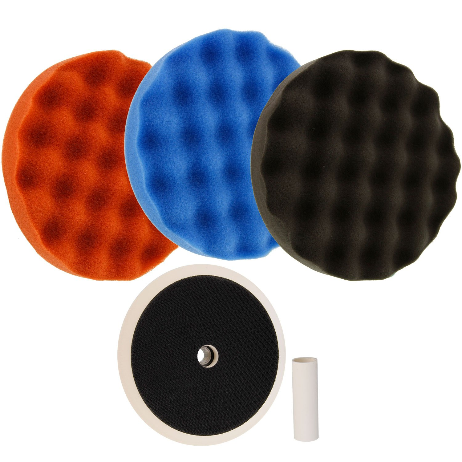 TCP Global Complete 3 Pad Buffing and Polishing Kit with 3 - 8'' Waffle Foam Grip Pads and a 5/8'' Threaded Polisher Grip Backing Plate