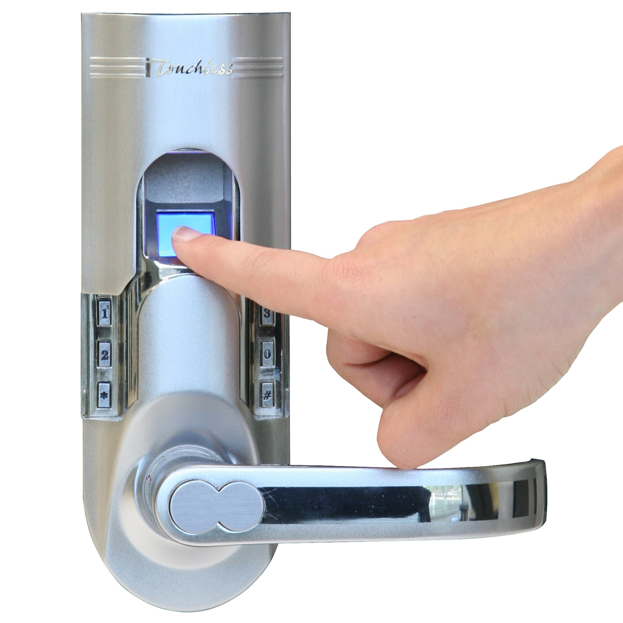 iTouchless Bio-Matic Fingerprint Door Lock, Right Handle, Silver