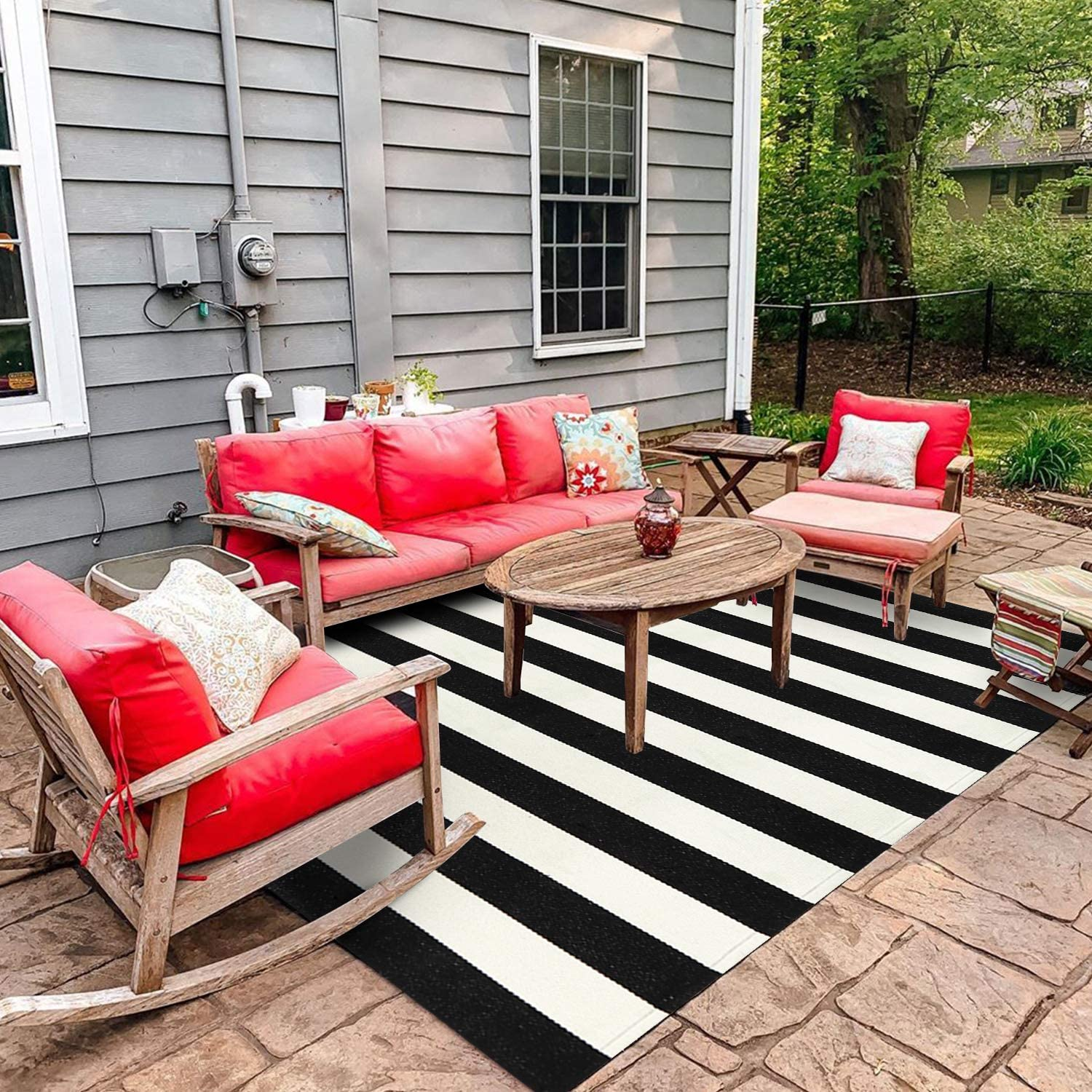 Black And White Outdoor Indoor Rug Doormat 3 X 5 Collive Cotton Woven Porch Rug Outdoor Door Mat Farmhouse Striped Rugs Runner Washable Area Rug For Front Kitchen Bathroom Bedroom Kitchen