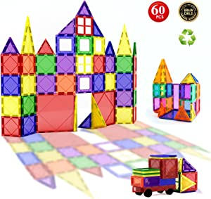 Children Hub 60pcs Magnetic Tiles Set - 3D Magnet Building Blocks - Premium Quality Educational Toys for Your Kids - Upgraded Version with Strong Magnets - Creativity, Imagination, Inspiration