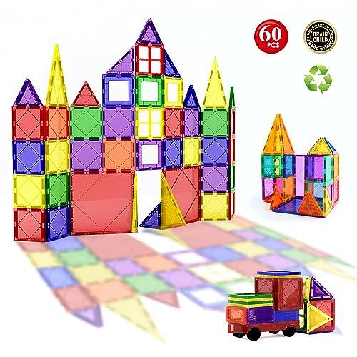 60pcs Magnetic Building Blocks Set - Building Construction Kit Toys For Kids (Stronger Magnets)