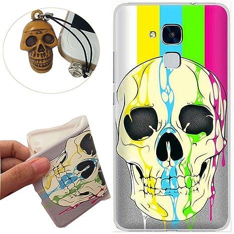 Huawei Honor 5X Funda, Rockconcept TPU Funda de Silicona de Gel Carcasa Tapa Case Cover para Huawei Honor 5X 5.5 inch (Cráneo del arco iris) [Con ...