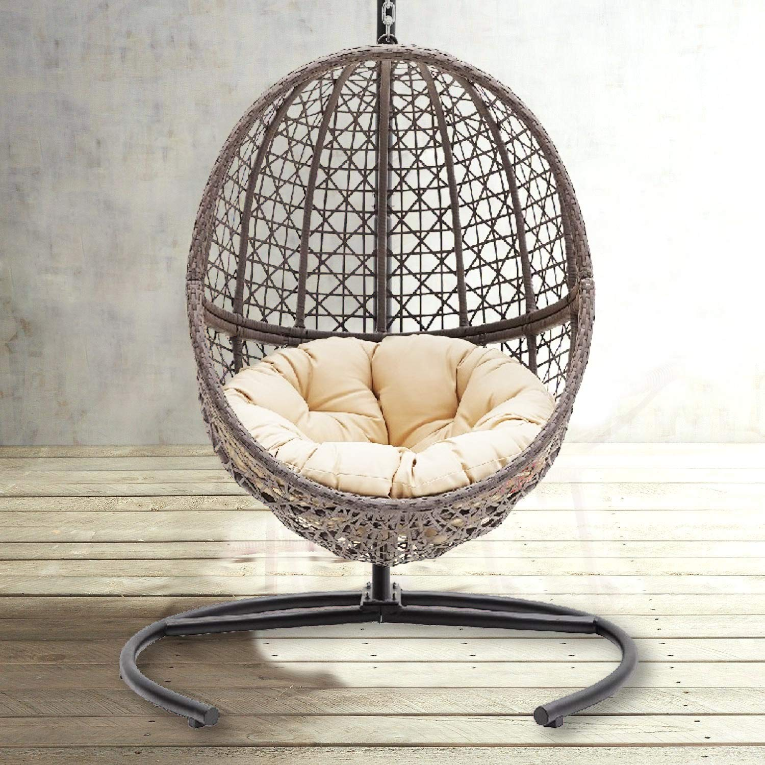 Theraliving Hanging Egg Chair Swing Wicker Bubble Design Seat Includes Tan Tufted Cushion And Stand Amazon In Home Kitchen