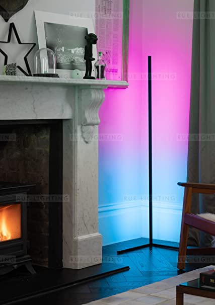 Colour Changing 142cm Tall Minimalist Nordic colour changing Standing atmosphere light with Dimmable Remote Controller PHLPS LED RGB Corner Floor Lamp Color : Black