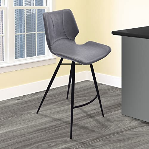 Armen Living Zurich 26 Counter Height Barstool in Vintage Grey Faux Leather and Matte Black Metal Finish