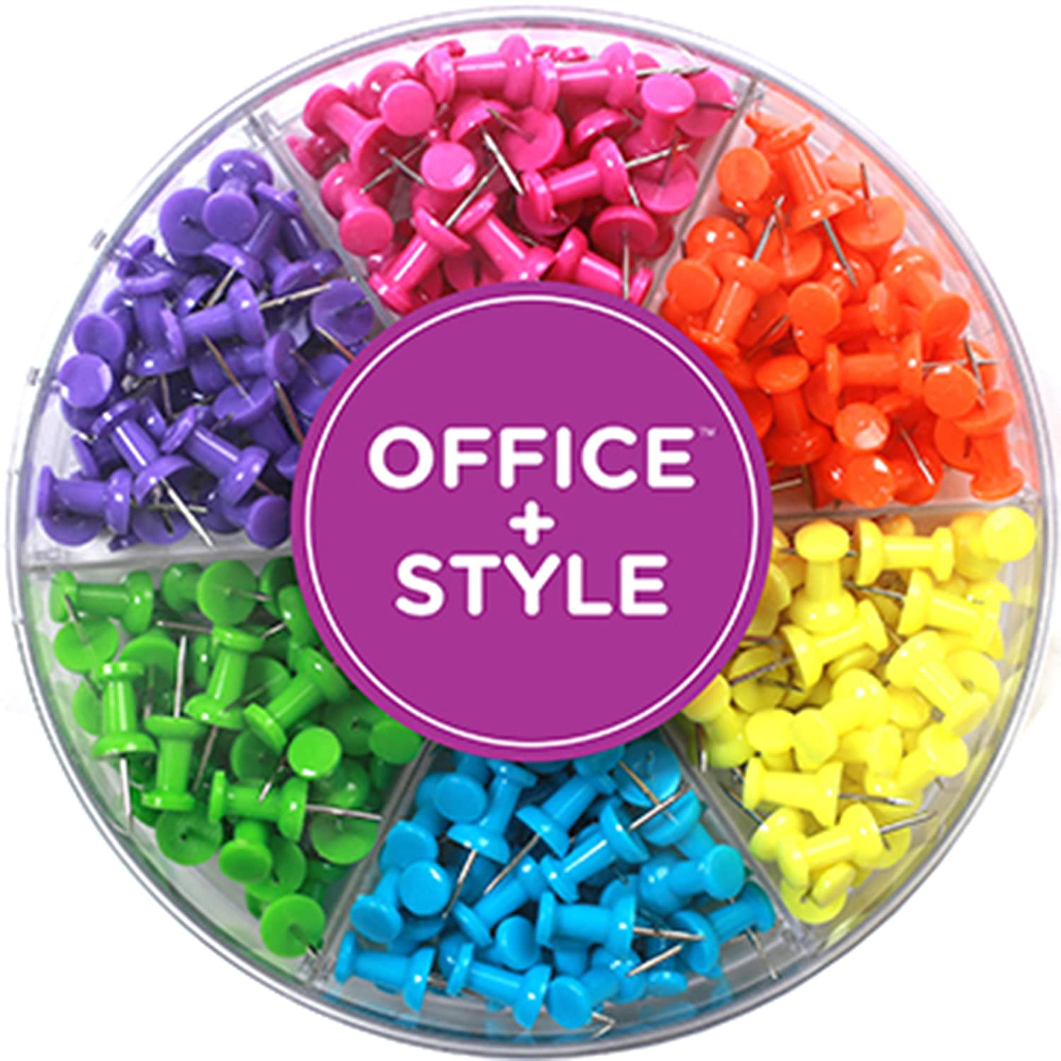 Decorative Multi-Colored Push Pins for Home /& Office 240 Pieces by Office Style Six Colors for Different Projects in Reusable Organizing Container