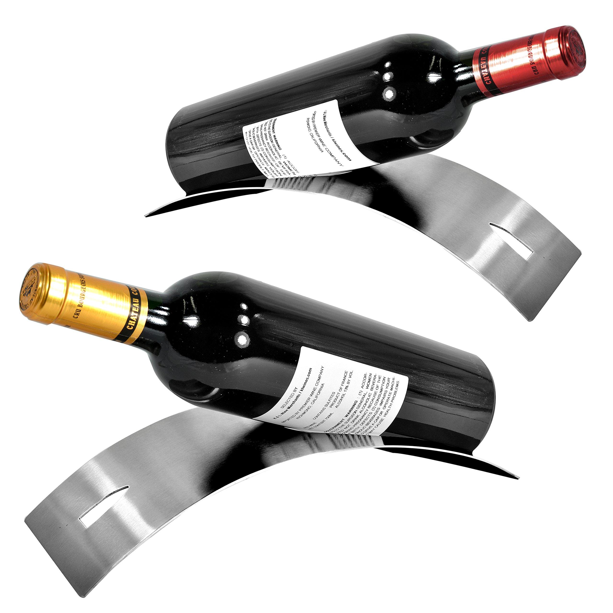 Set of 2 Sleek Modern Contemporary Brushed Stainless Steel, Single Bottle Serving Display Wine Rack