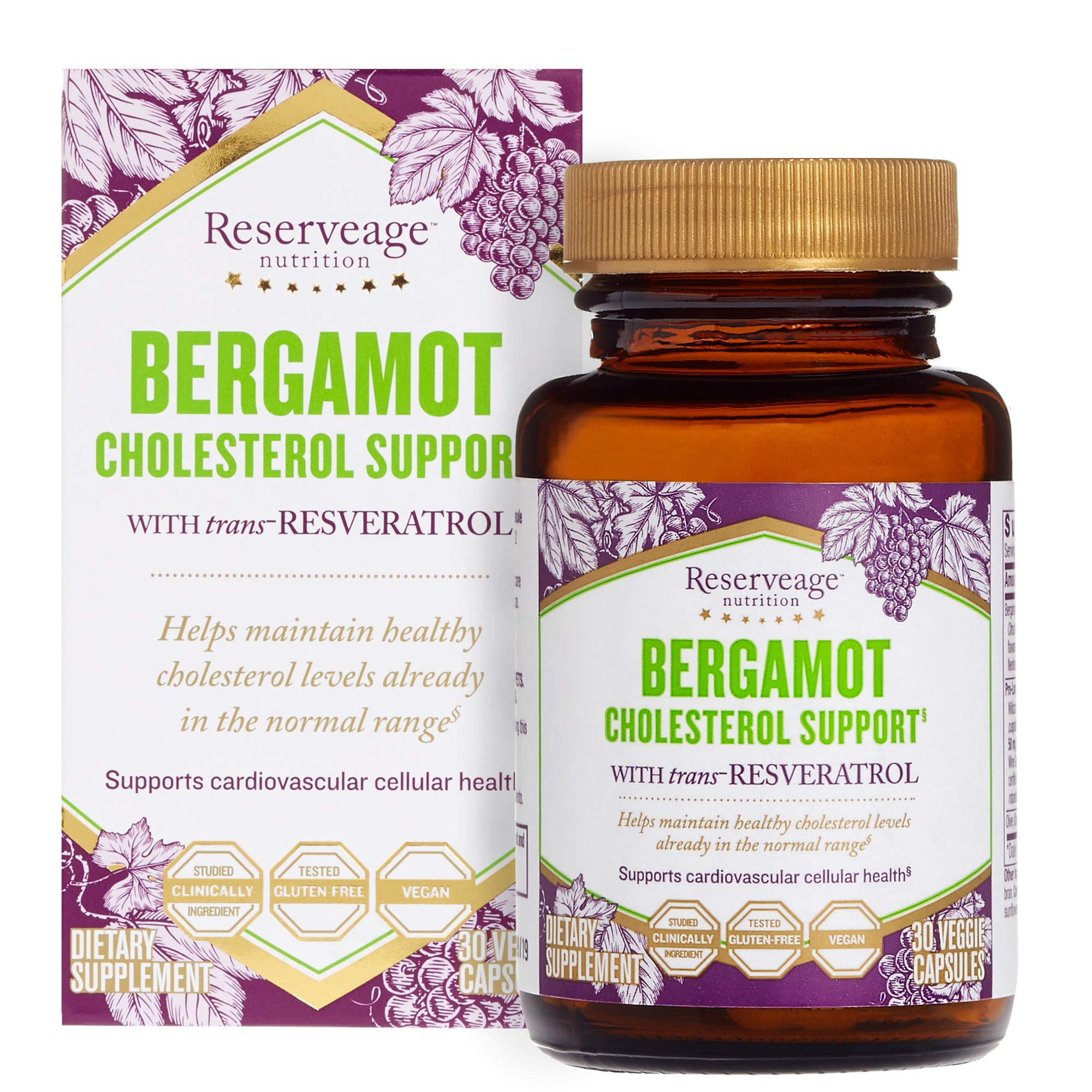 Reserveage - Bergamot Cholesterol Support, Helps Maintain Balanced Cholesterol Levels to Aid Heart and Cardiovascular Health with Bergamot, Resveratrol, and Olive Leaf, Gluten Free, Vegan, 30 Capsules by Reserveage Nutrition