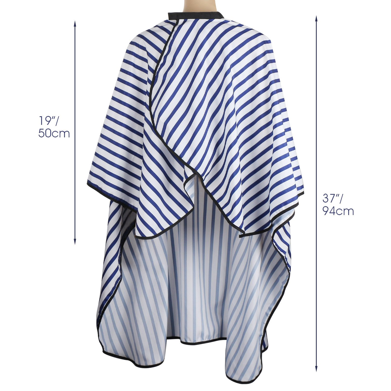 Hair Salon Cutting Cape, Segbeauty Professional Barbers Hairdressing Gown with Hook & Loop Closure, 19'' X 37'' Long Silky Waterproof Makeup Cape - Blue Striped