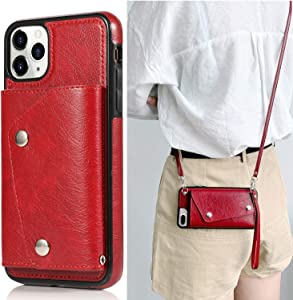 Fusicase for iPhone 11 Pro Max Card Holder Case with Neck Strap Crossbody Chain Handbag Wrist Strap Protective Cover with Credit Card Holder Slot PU Leather Wallet Case for iPhone 11 Pro Max Red