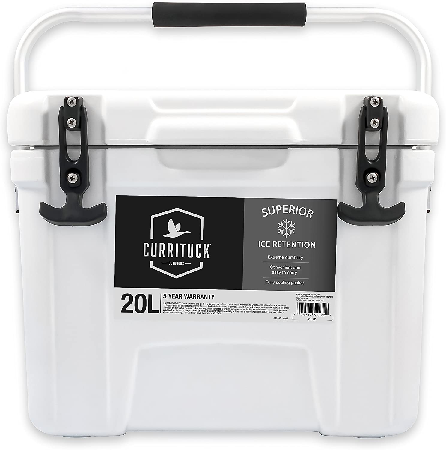 Currituck Heavy Duty Cooler by Camco- Perfect as a Boat Cooler and For Hunting, Hiking, Camping, Fishing, The Beach and More- 21 Quarts (White) (51872)