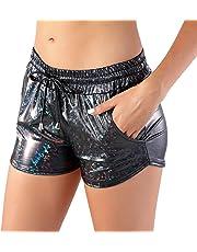 RIKKI Women's Shiny Mermaid Fish Scale Hot Pants Mini Shorts