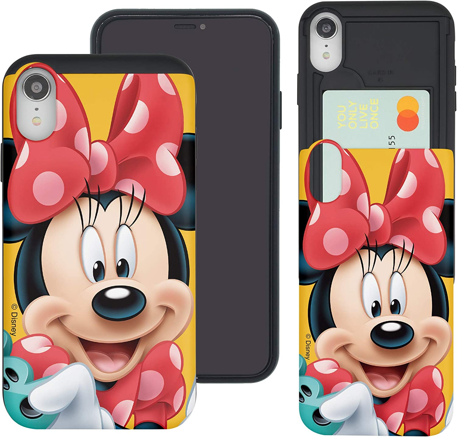 WiLLBee Compatible with iPhone Xs Max Case Dual Layer Card Slide Slot Wallet Bumper Cover - Smile Minnie