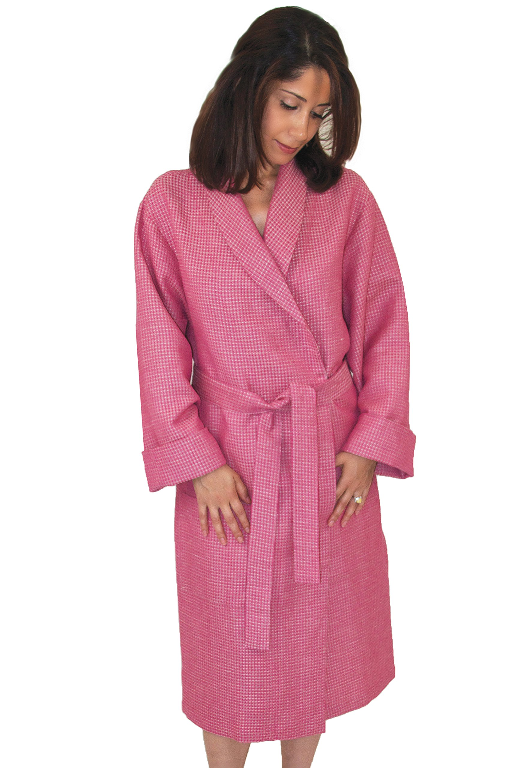 Bath Robe (Small) Linen-Cotton Waffle, Carmine Rose-Beige