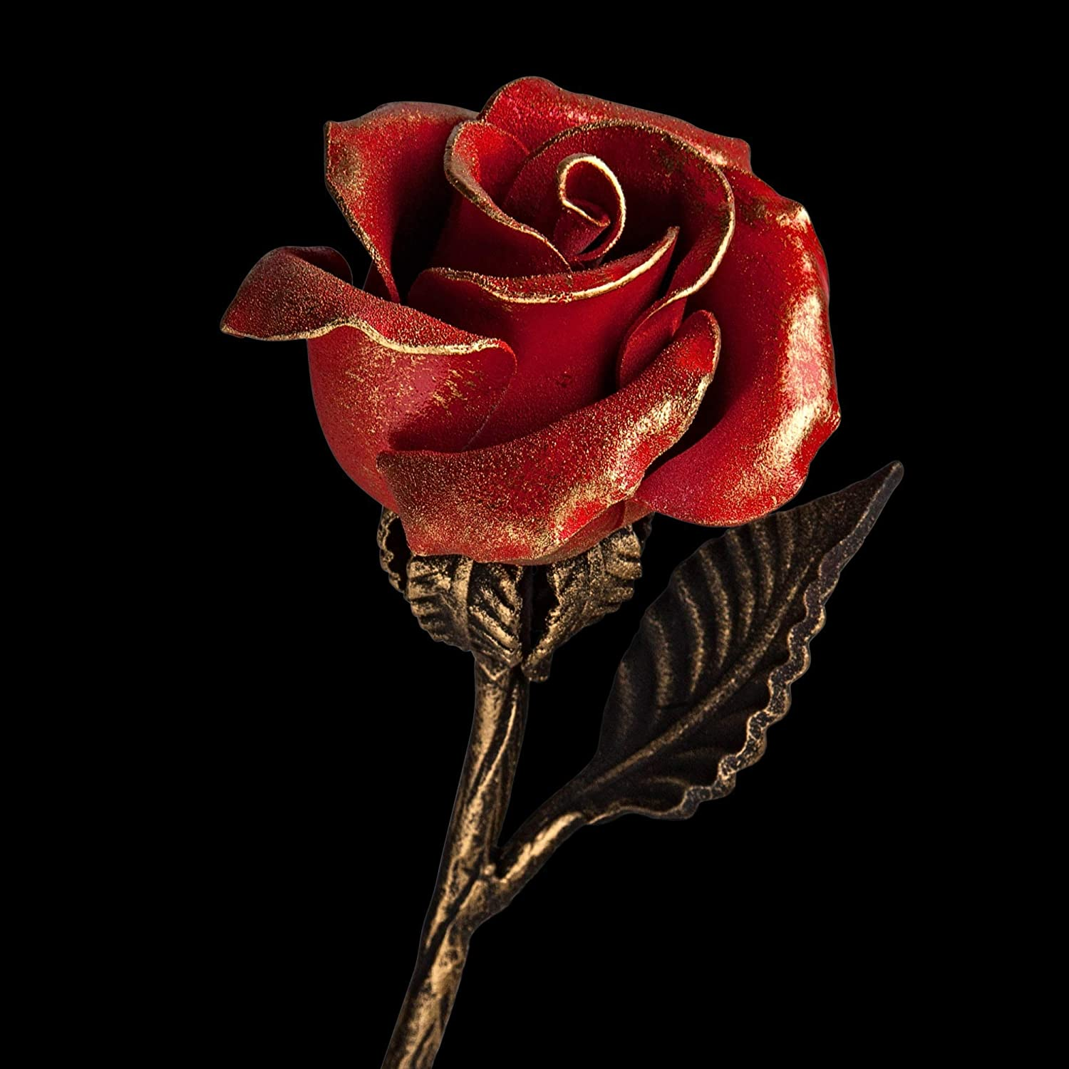 Hand Forged Gold Metal Rose Sculpture 4th Wedding Anniversary Gift