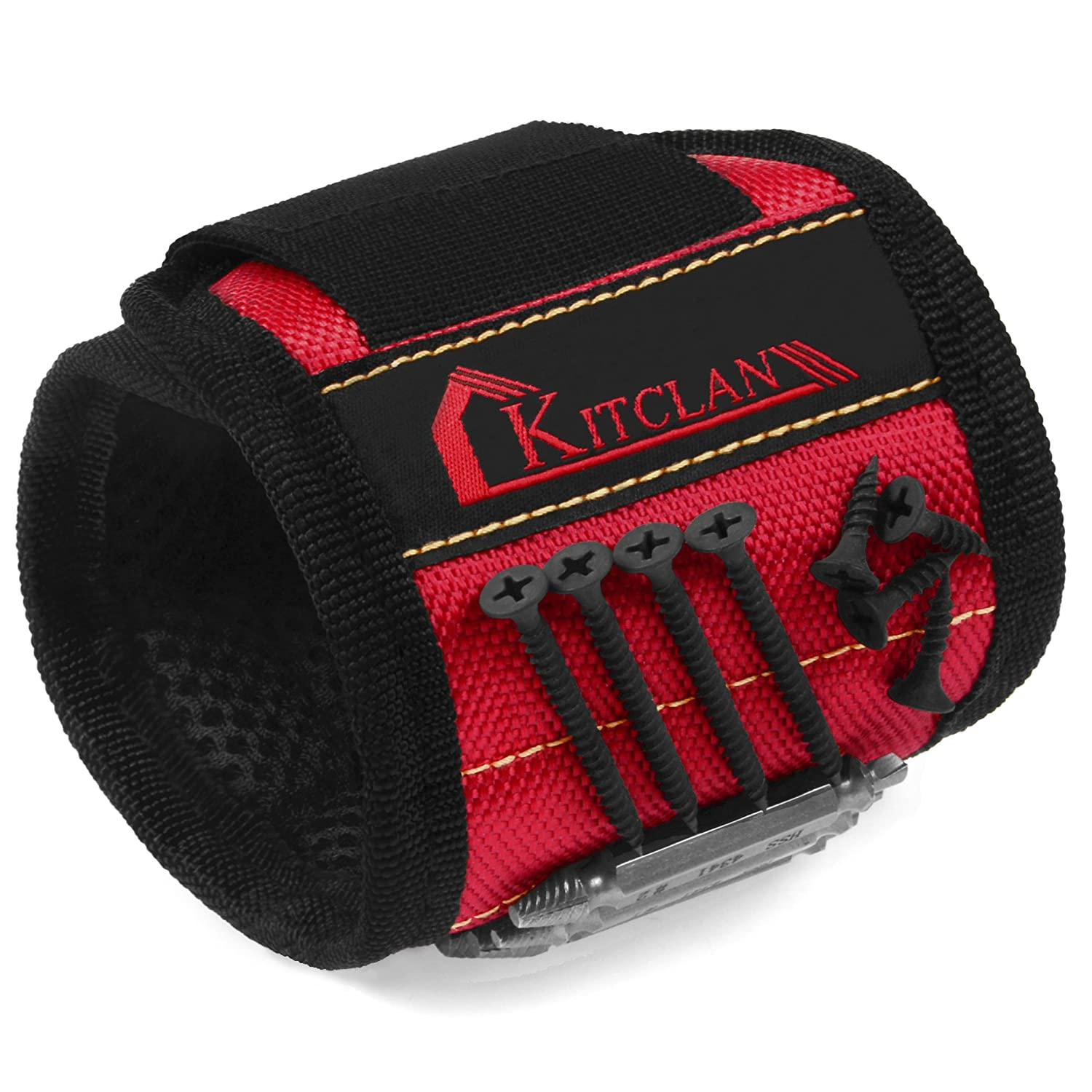 Magnetic Wristband Kitclan Magnet Wristband with 5 Powerful Magnets Adjustable Velcro Strap for Holding Tools Screws Nails Small tools Gifts for Men Fathers Handymen DIY