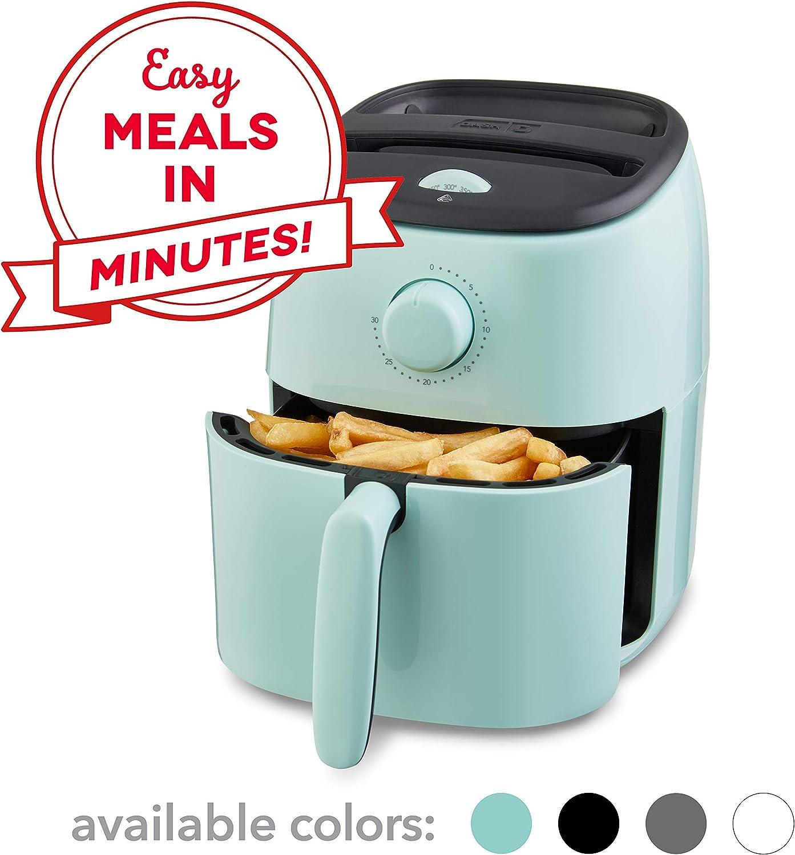 Dash DCAF200GBAQ02 Tasti Crisp Electric Air Fryer + Oven Cooker with Temperature Control, Non Stick Fry Basket, Recipe Guide + Auto Shut Off Feature, 2.6Qt, Aqua