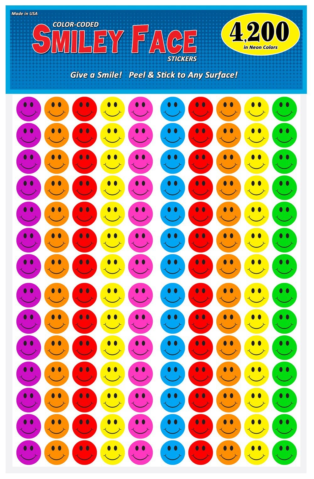 Pack of 4200, Happy Face Smiley Stickers, 3/4 inch Round Circles, 7 Bright Neon Colors, Great for Teachers
