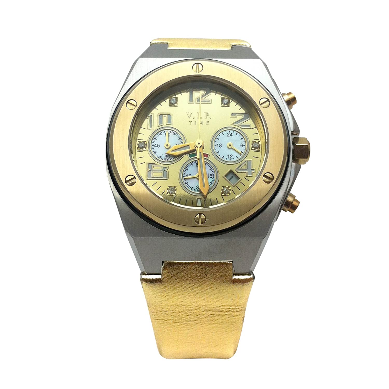 V.I.P Time Uhr Leder gold