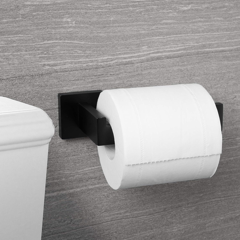 WC Edelstahl Klopapierhalter f/ür K/üche und Badzimmer Toilette Toilettenpapier Matte Black Quadrat HITSLAM Toilettenpapierhalter