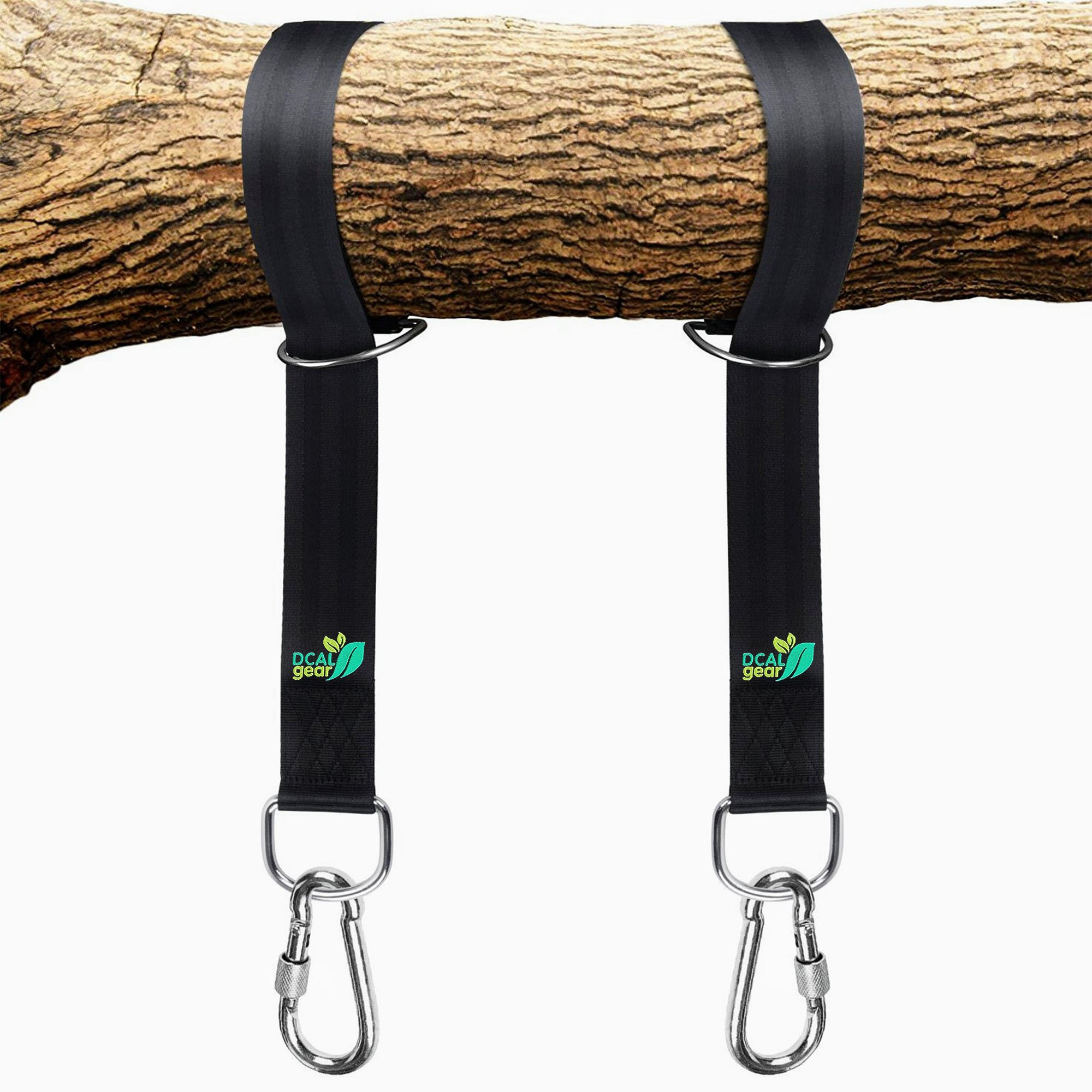 Best Tree Swing Hanging Kit - Easy 30 Sec Install on Outdoor Toys - Two 5 ft Tree Straps Hold 2000 lb - Safe, Large Carabiners & D Rings - Fits Hammocks & Most Swing Seats - Better Than Chain or Rope! by DCAL Gear (Image #1)