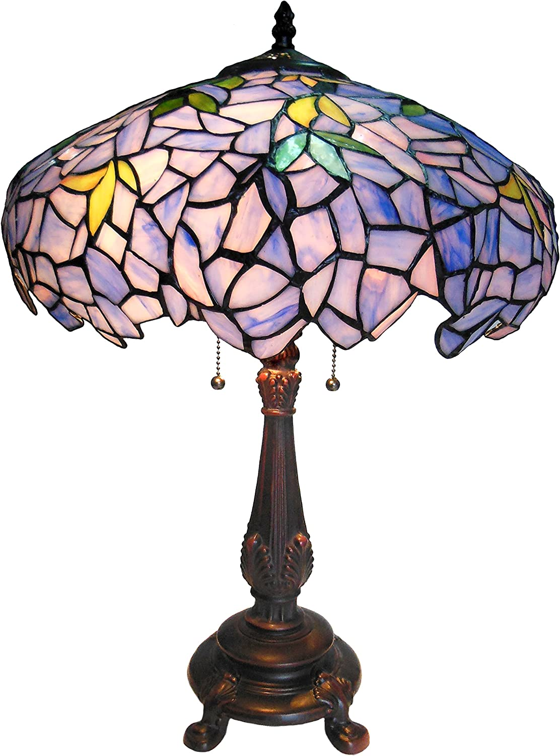 "Chloe Lighting CH16828P-TL2 Tiffany-Style Wisteria 2-Light Table Lamp with Shade, 24 x 16 x 16"", Bronze"