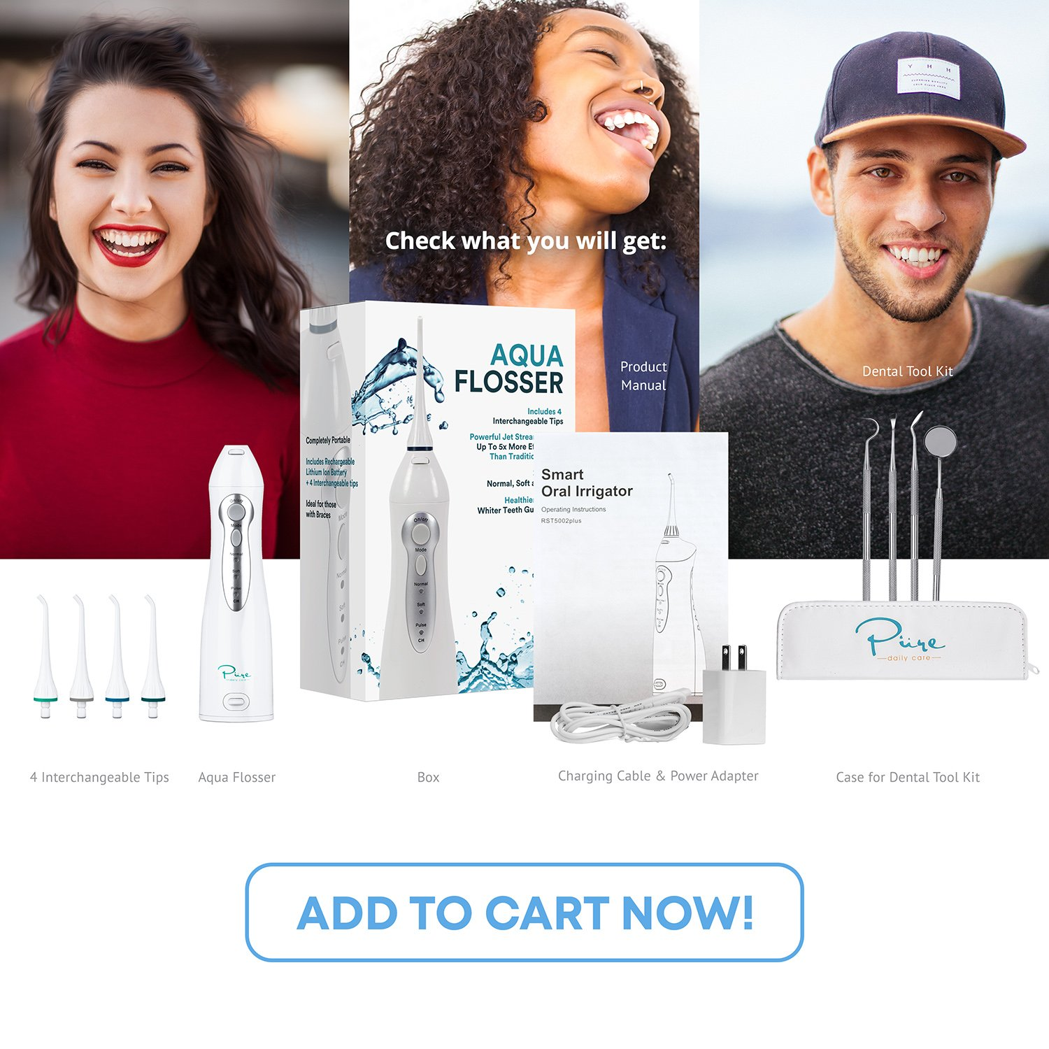 Pure Daily Care Water Flosser with 4 Tips and 4 Piece Dental Kit, White, One Size by Pure Daily Care (Image #9)