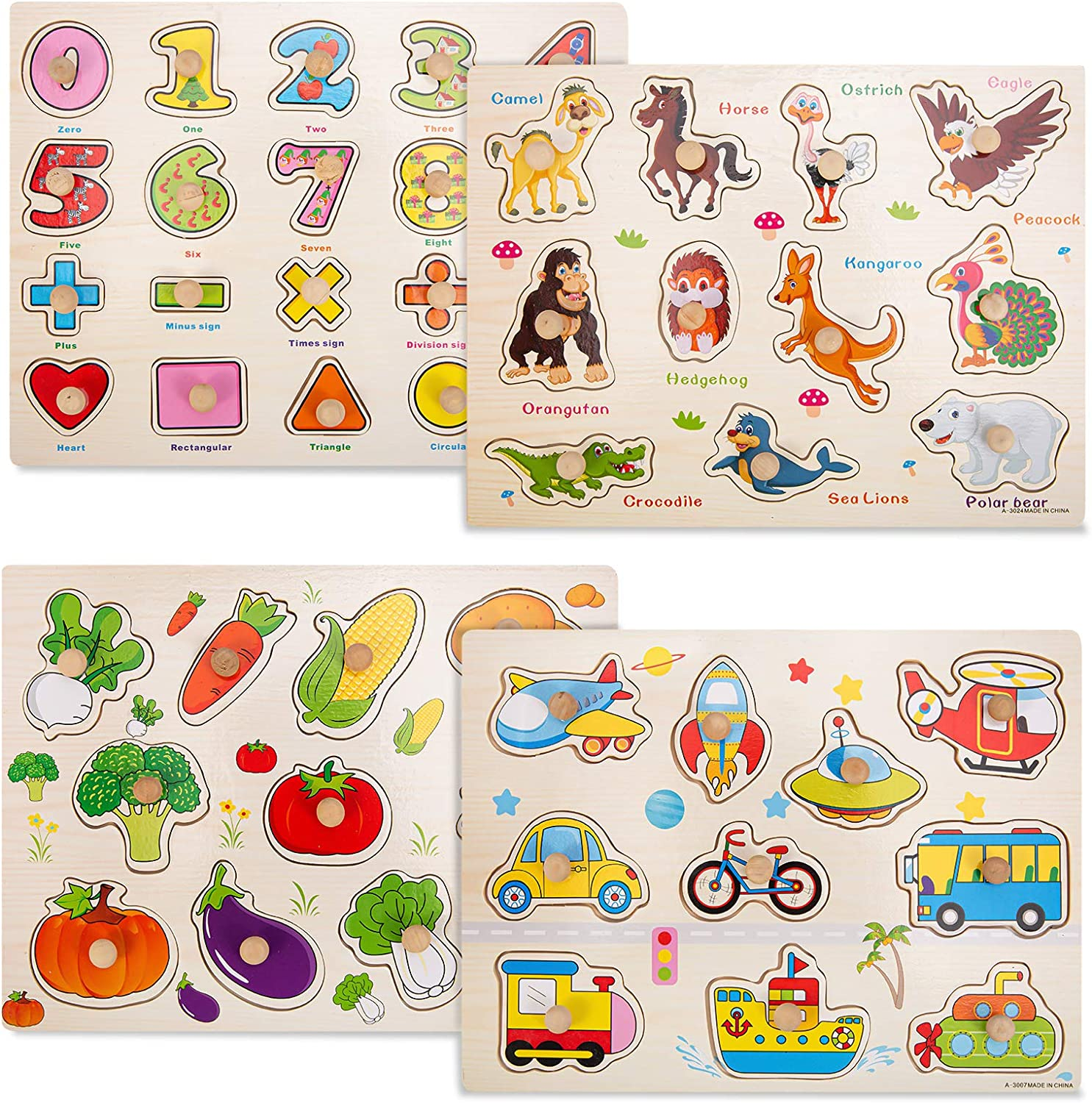 ThinkMax 4 Pcs Wooden Peg Puzzles for Toddlers 2 3 Years Old, Kids Knob Puzzles Set- Farm Animals, Numbers, Vegetables and Vehicles Learning Puzzles