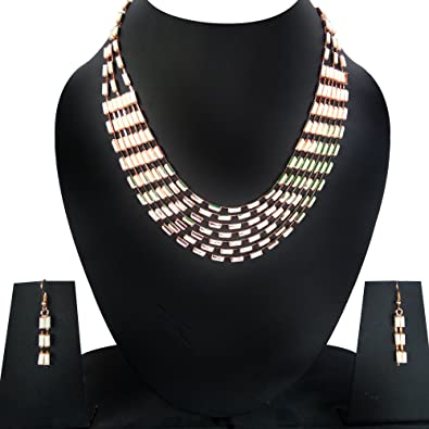 70116e450f Necklace Set by Rudra Style Multi Strand White Necklace Set With Matching  Earrings | artificial jewelry