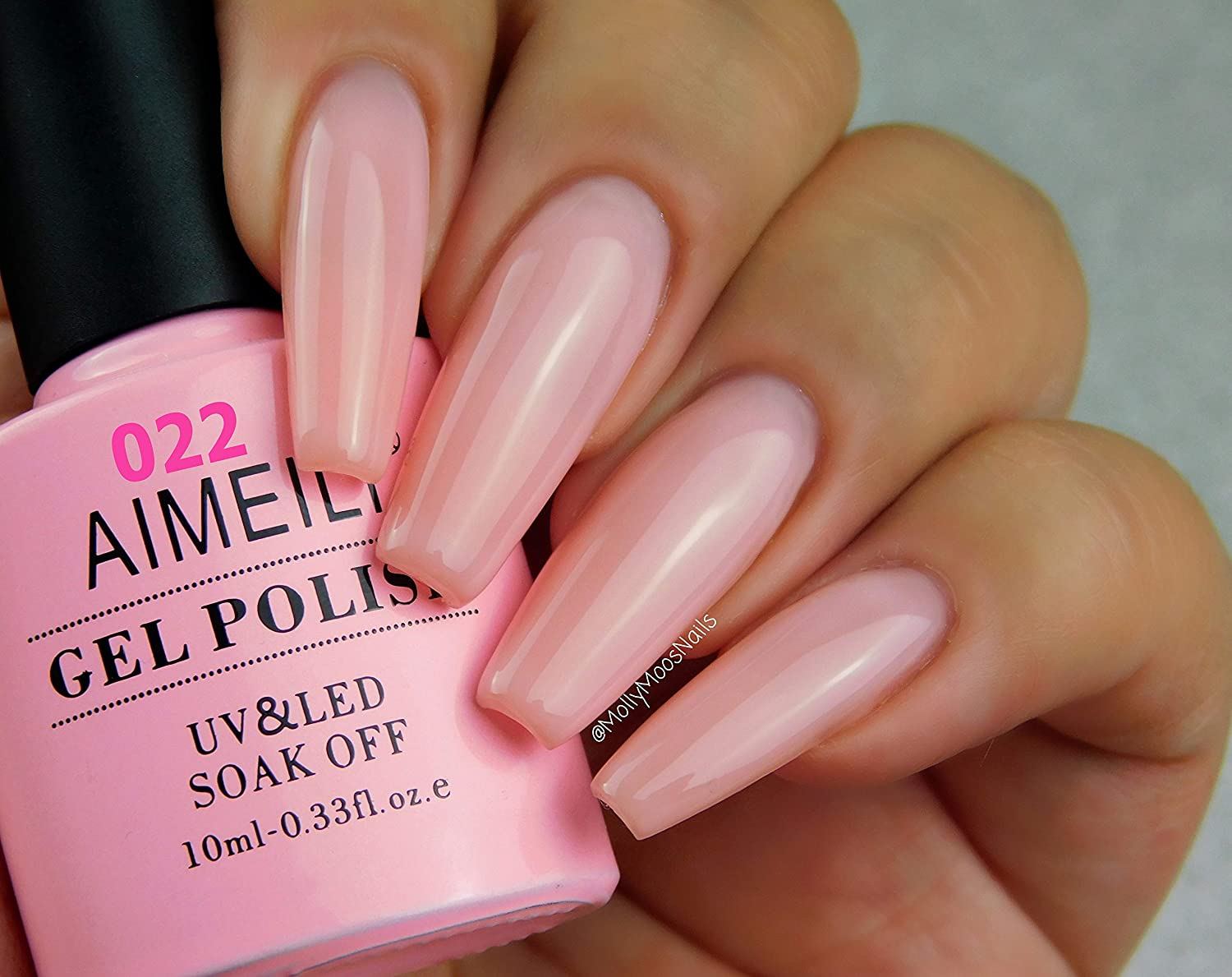Aimeili Soak Off Uv Led Vernis à Ongles Gel Semi Permanent Pink Gel Polish Rose Nude 022 10ml