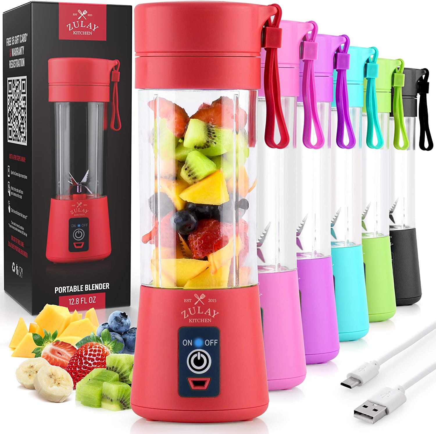 Zulay Portable Blender For Shakes And Smoothies - USB Rechargeable Portable Smoothie Blender Small For Travel - 13oz Capacity Personal Mini Blender Portable - Red