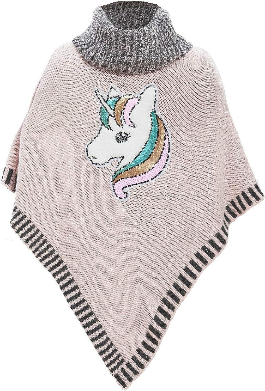 Poncho bambina mantella collo alto unicorno maglione caldo TOOCOOL LI-1823