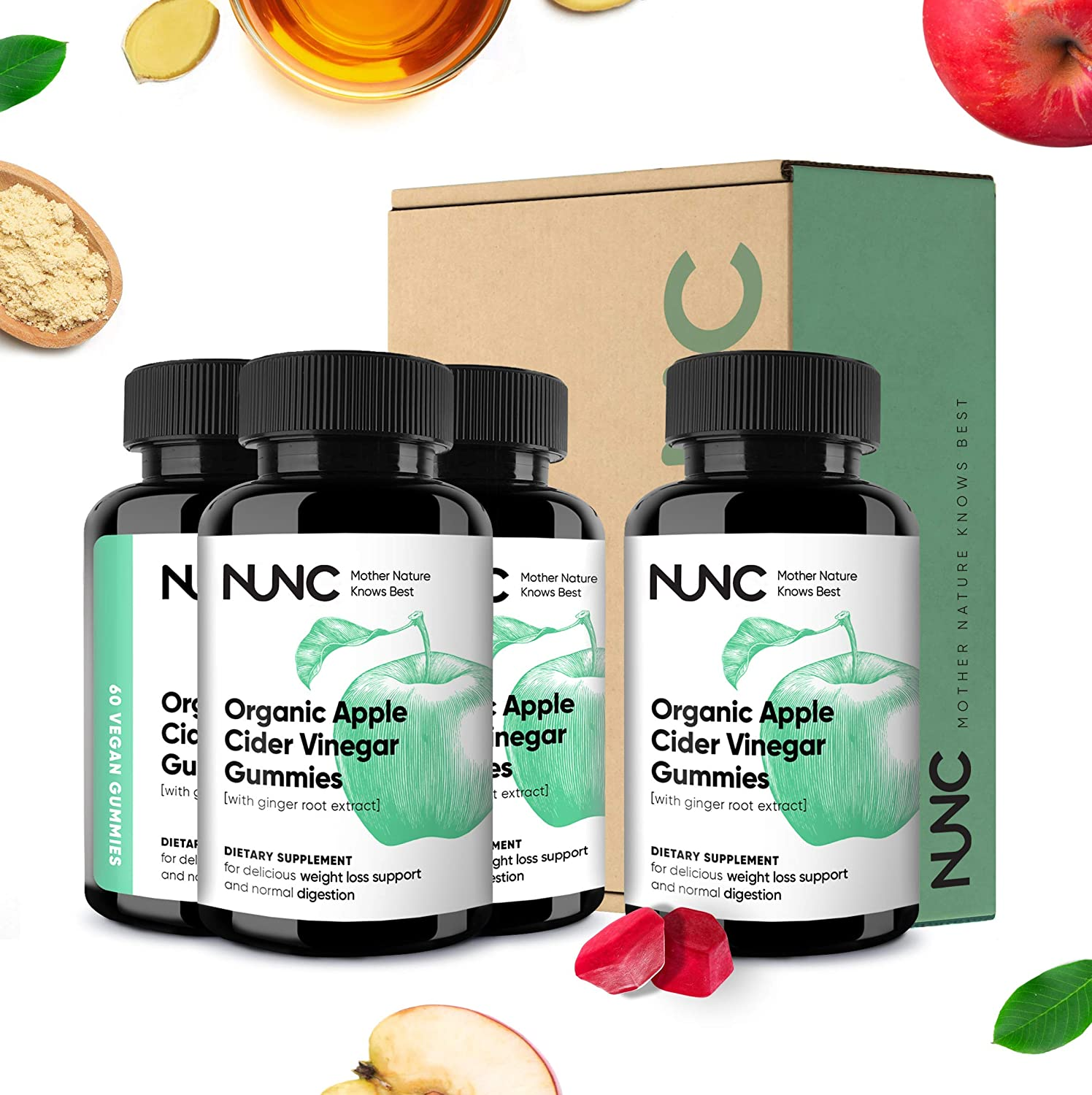 NUNC Apple Cider Vinegar Gummies - 4 Pack - Unfiltered Organic ACV w/Ginger Root Extract | Support Metabolic & Digestive Functions for Slimmer Feeling, Increased Energy, Detox & Cleanse - 240 Count