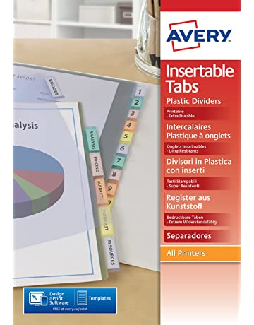 Avery Dennison 5614501 - Separador para archivadores (12 pestañas personalizables, A4, 12 separadores