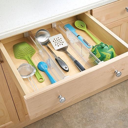 Aufbewahrungsbox f/ür Schr/änke und Schubladen anpassbarer Schubladen-Trenner mit F/ächern f/ür K/üchenutensilien mDesign 2er-Set Schubladen-Organizer Textilien etc - durchsichtig