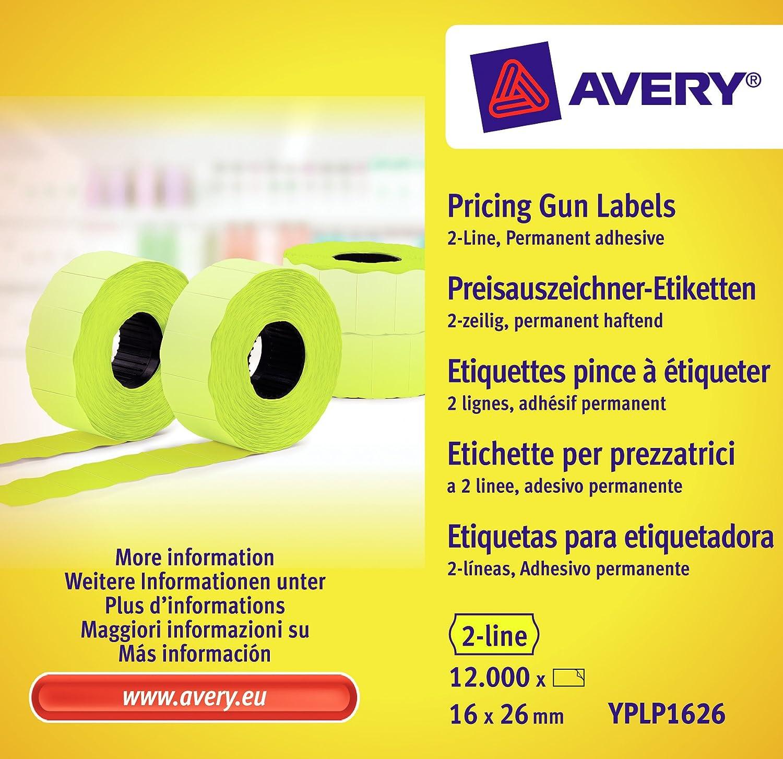 Avery Zweckform YPLP1626 - Rollo de etiquetas para precios (2 líneas, 16 x 26 mm, 10 rollos/12.000 etiquetas), color amarillo: Amazon.es: Oficina y papelería