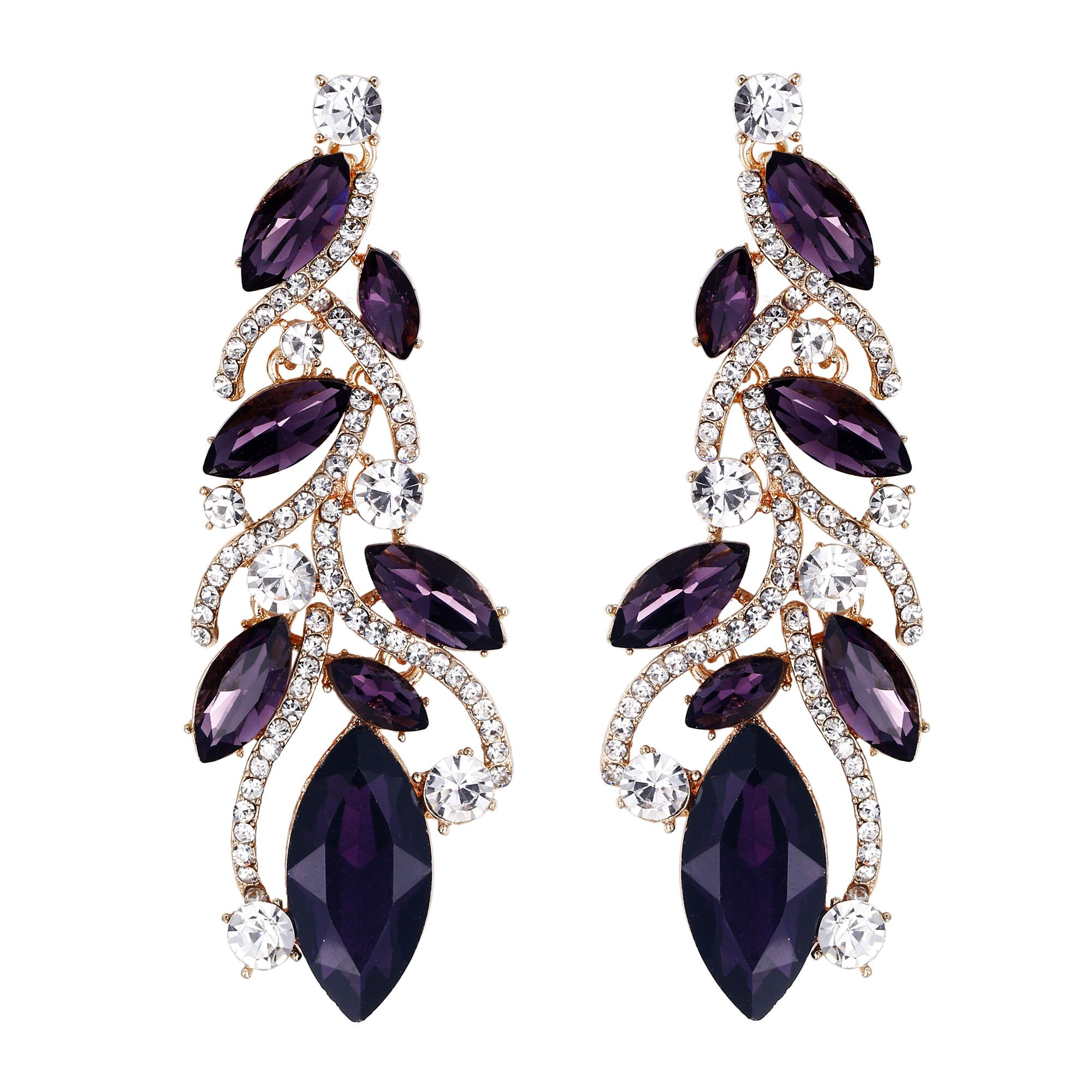 EVER FAITH Austrian Crystal Bohemia Bridal Leaf Dangle Earrings for Bride, Bridesmaid Purple Gold-Tone