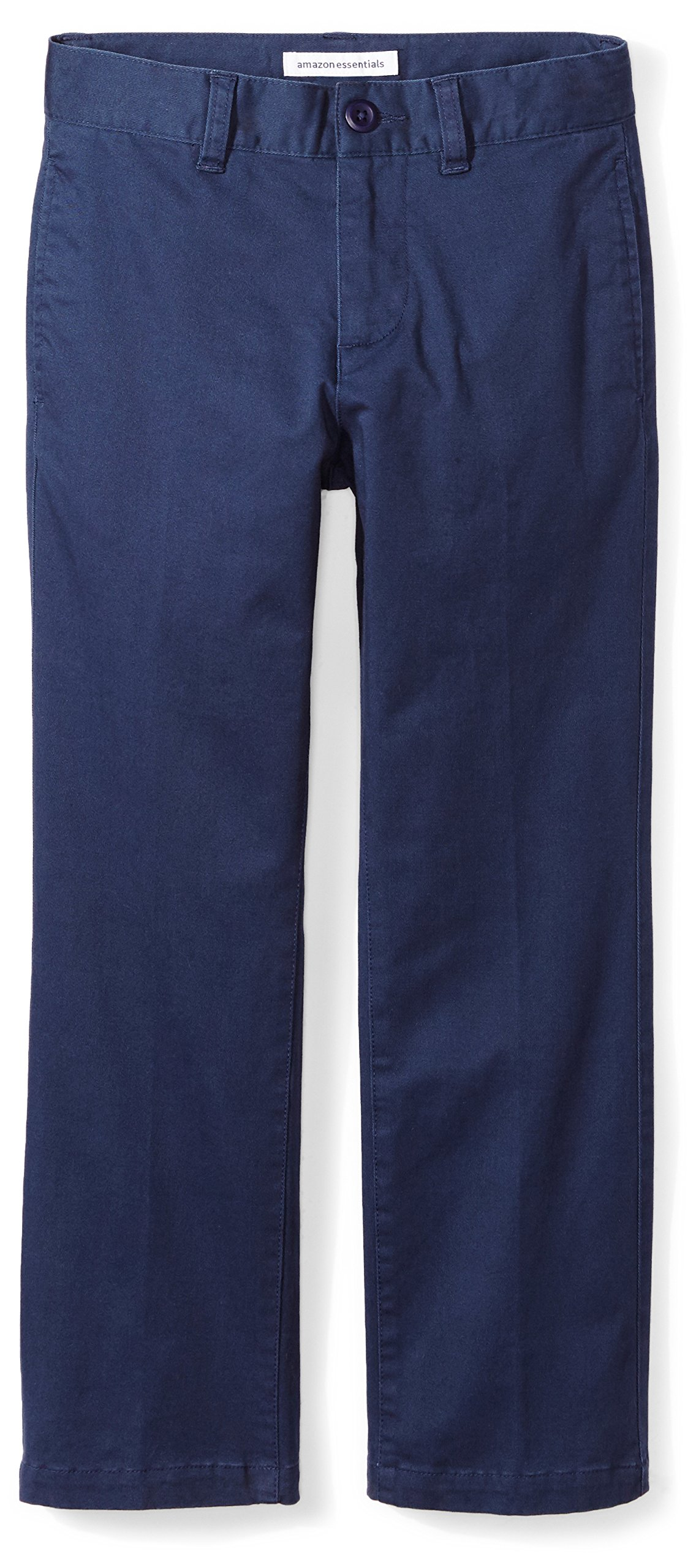 Amazon Essentials Boys' Straight Leg Flat Front Uniform Chino Pant, Washed Navy,12