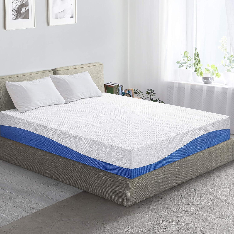 PrimaSleep Wave Gel Infused Memory Foam Mattress, 10'' H, King, Blue