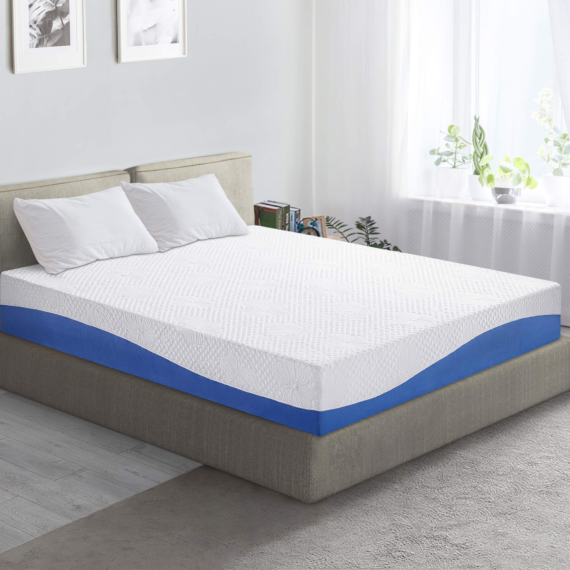 PrimaSleep Wave Gel Infused Memory Foam Mattress, 10'' H, Full, Blue by PrimaSleep